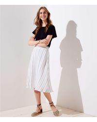 LOFT - Petite Striped Midi Skirt - Lyst