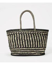 LOFT - Monochrome Straw Bag - Lyst