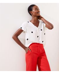 LOFT Dot Buttoned Petal Sleeve Top - Multicolour