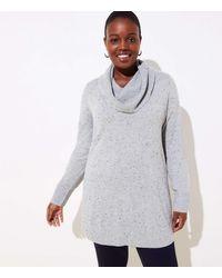 LOFT Plus Flecked Luxe Knit Cowl Neck Tunic Jumper - Grey