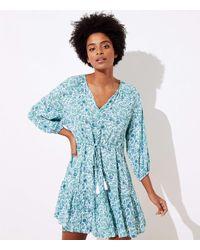 LOFT Beach Floral Puff Sleeve Tunic Dress - Blue