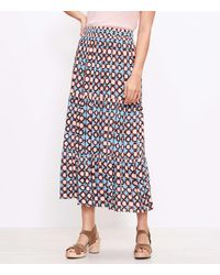 LOFT Petite Sunwashed Floral Tiered Pull On Maxi Skirt - Blue