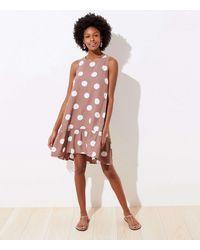 LOFT Polka Dot Tie Back Swing Dress - Multicolour