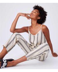 4fc48a31654 LOFT - Lou   Grey Striped Cami Jumpsuit - Lyst