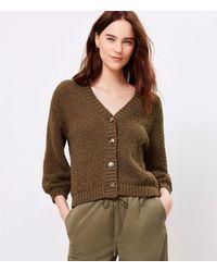 LOFT Textured V-neck Cardigan - Brown