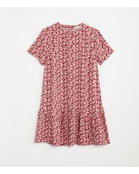 LOFT Floral Flounce Swing Dress - Red