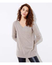 LOFT Luxe Knit V-neck Tunic Jumper - Gray
