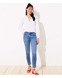 LOFT Eyelet Hem Slim Pocket Skinny Crop Jeans In Vivid Mid Indigo Wash - Blue