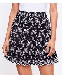LOFT Floral Embroidered Tiered Full Skirt - Black