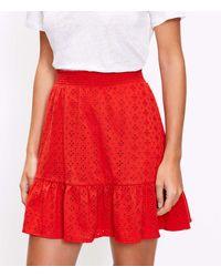 LOFT Petite Eyelet Tiered Pull On Skirt