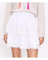 LOFT Clip Tiered Pull On Skirt - White