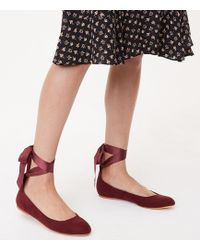 LOFT - Lace Up Ballet Flats - Lyst