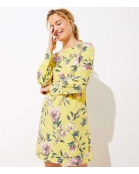 LOFT Floral Boatneck Shift Dress - Yellow