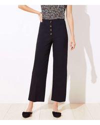 LOFT Button Front High Waist Wide Leg Ankle Pants - Black