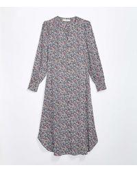 LOFT Floral Midi Shirtdress - Grey