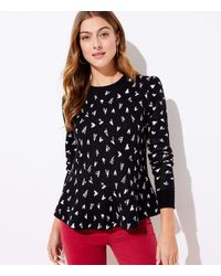 LOFT Heart Peplum Sweater - Black