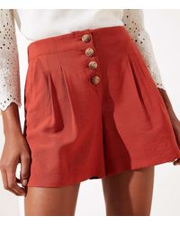 LOFT Button Front Shorts - Red