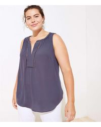 db42a46edab6 LOFT Dotted Mixed Media Split Neck Top in Blue - Lyst