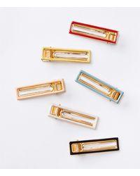 LOFT Rectangle Hair Clip Set - Metallic