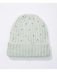 LOFT - Embellished Ribbed Hat - Lyst