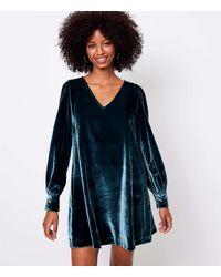 LOFT Velvet Swing Dress - Blue