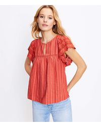 LOFT Scalloped Eyelet Top - Red