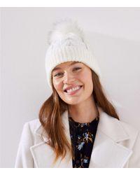 LOFT Cable Faux Fur Pom Pom Hat - White
