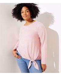 LOFT Plus Striped Side Tie Tunic Top - Pink