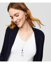 LOFT - Stacked Stone Slider Necklace - Lyst