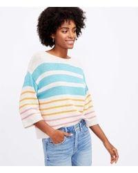 LOFT Petite Mixed Stripe Sweater - Blue