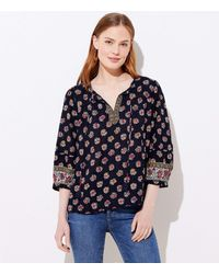 LOFT Bloom Split Neck Blouse - Blue