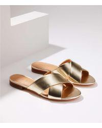LOFT - Metallic Criss Cross Slide Sandals - Lyst