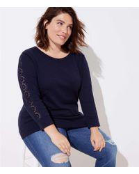 LOFT - Plus Eyelet Sleeve Sweater - Lyst