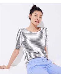 LOFT - Petite Striped Elbow Sleeve Tee - Lyst