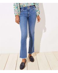 LOFT - Modern Frayed Bootcut Jeans In Classic Light Indigo Wash - Lyst