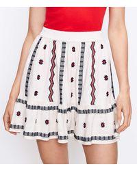 LOFT Petite Embroidered Pull On Skirt - White