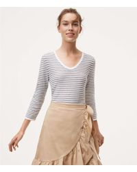 LOFT - Striped Textured Shirttail Jumper - Lyst