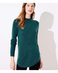 LOFT Mock Neck Tunic Sweater - Green