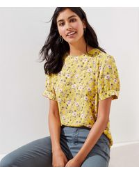 LOFT Petite Floral Puff Sleeve Button Back Top - Yellow