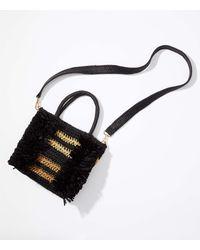 LOFT Fringe Straw Crossbody Bag - Black