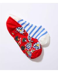 LOFT - Stripe & Flower No Show Sock Set - Lyst