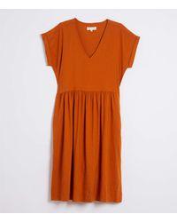 LOFT Lou & Grey Crosshatch Softstretch Linen Pocket Dress - Orange