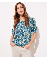 LOFT Floral Shirred Linen Tee - Blue