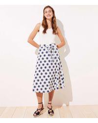LOFT Floral Linen Blend Tie Waist Midi Skirt - Multicolor