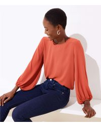LOFT Petite Draped Sleeve Top - Orange