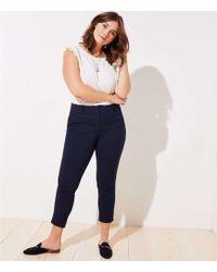 LOFT Plus Velvet Dot Skinny Ankle Trousers - Blue