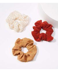 LOFT Mixed Media Scrunchie Set - Multicolour