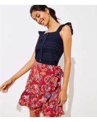 LOFT - Paisley Ruffle Wrap Skirt - Lyst