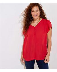 LOFT Plus Buttoned Petal Sleeve Top - Red