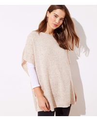 LOFT Flecked Side Tie Poncho - Natural